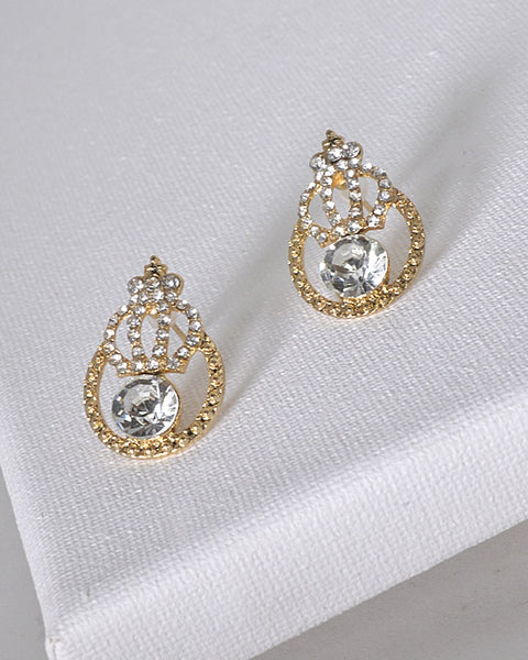 Crystal and Stone Studded Tear Drop Shaped Earrings - the-jewelry-barn
