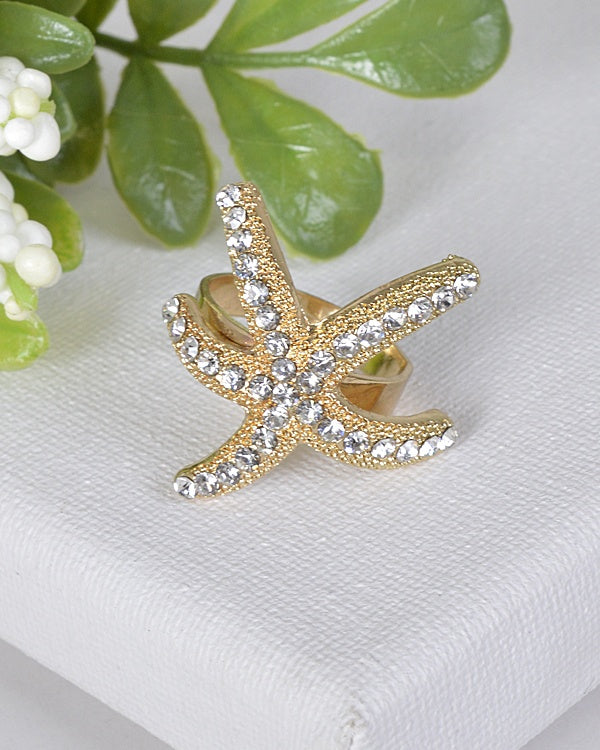 Rhinestone Studded Star Fish Shaped Ring - The Jewelry Barn