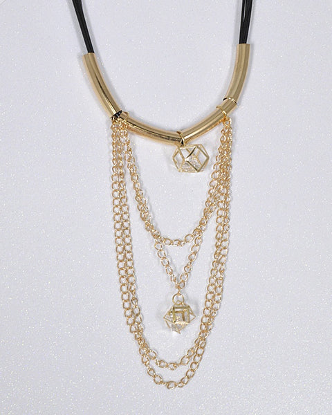 Crystal and Rolo Chain Embellished Necklace - The Jewelry Barn