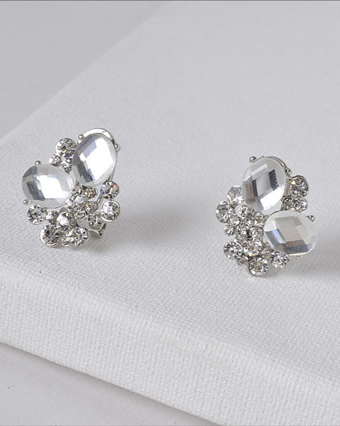 Crystal and Rhinestone Studded 3D Design Earrings - the-jewelry-barn