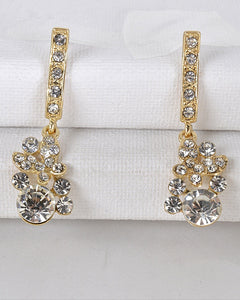 Crystal Studded Drop Earrings - The Jewelry Barn