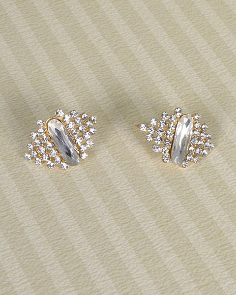 Rhinestone and Crystal Studded Drop Stud Earrings - The Jewelry Barn