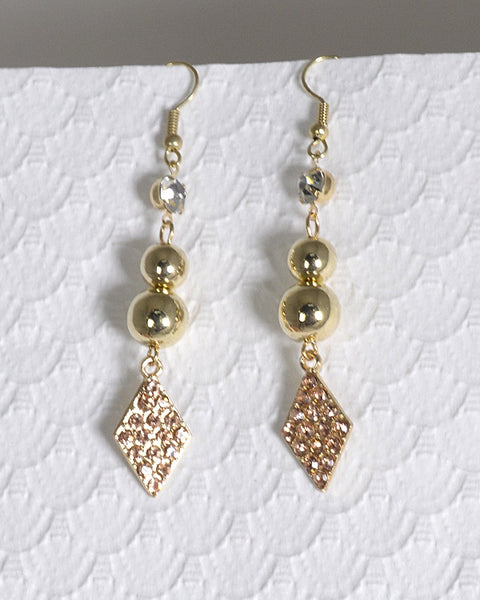 Rhinestone Crystal and Metal Accented Fishhook Drop Earrings - The Jewelry Barn