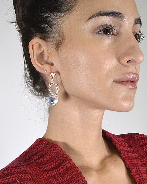 Crystal and Rhinestone Embellished Drop Earrings - The Jewelry Barn