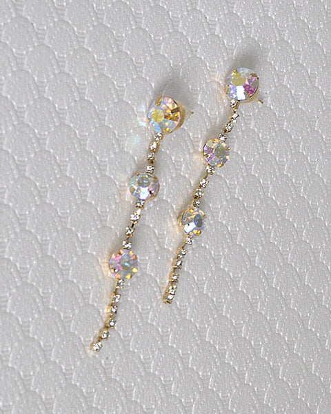 Rhinestone and Crystal Embellished Drop Earrings with Post Back Closure - The Jewelry Barn