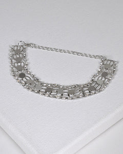 Crystal and Metal Trim Accented Bracelet - the-jewelry-barn
