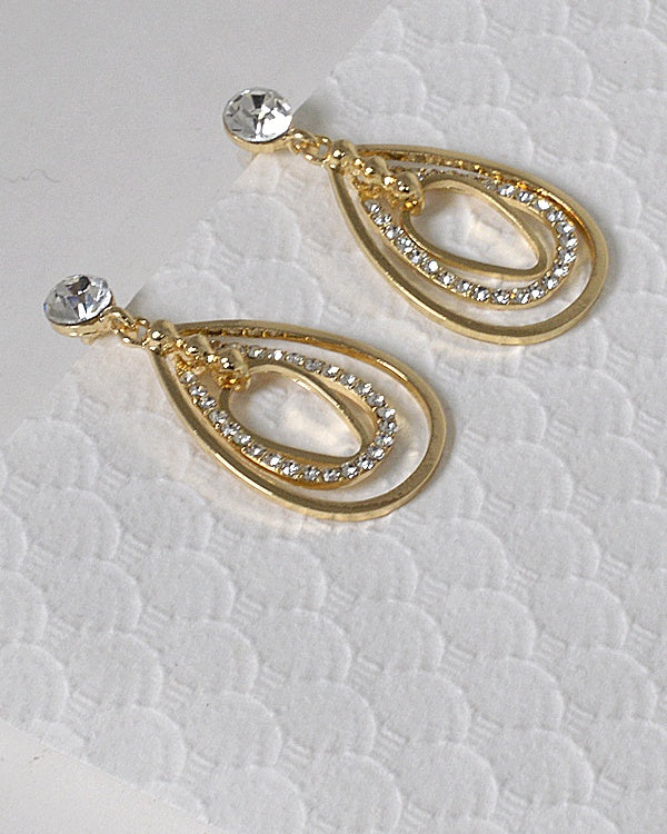Crystal and Rhinestone Embellished Drop Stud Earrings - The Jewelry Barn