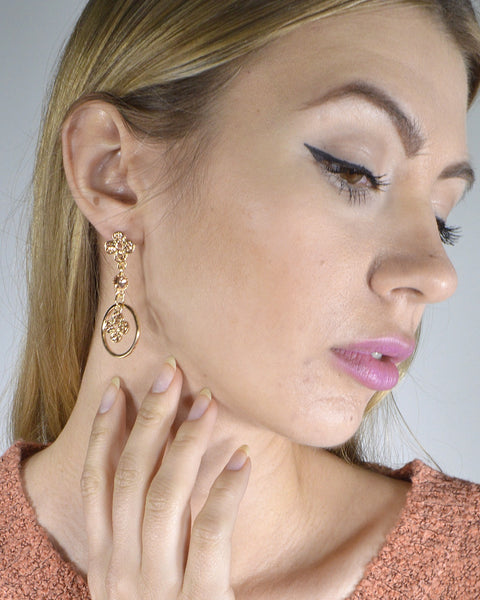 Rhinestone Studded Metallic Floral and Ring Detailing Drop Earrings - The Jewelry Barn