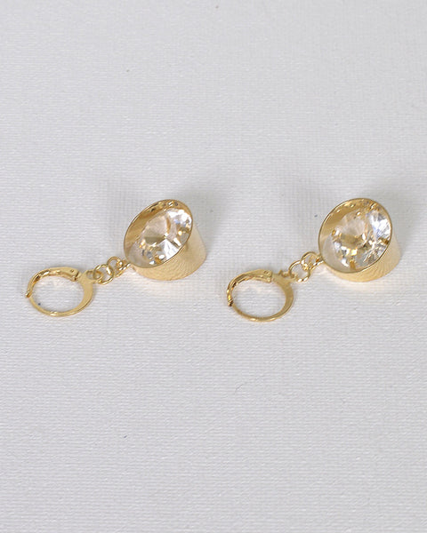 Crystal Studded Ring Design Earrings with Lever Back Closure - The Jewelry Barn