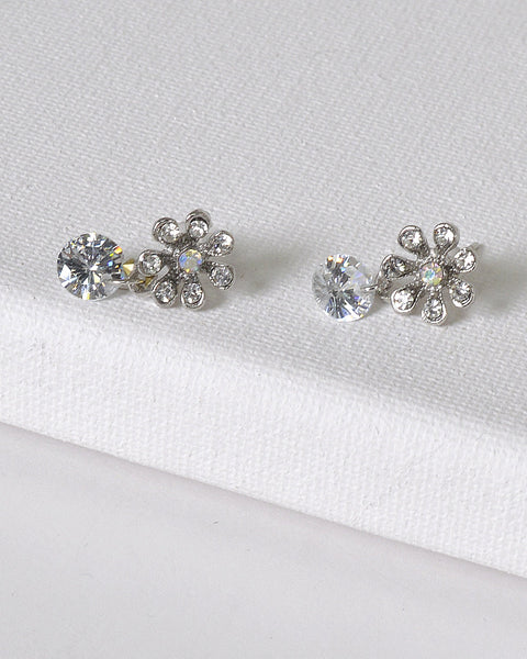 Rhinestone Embellished Floral Design Drop Earrings - The Jewelry Barn