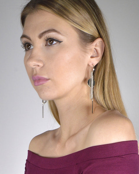 Metal Detailing Drop Earrings with Interlink Chain Accents - The Jewelry Barn