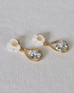 Floral Design Crystal Studded Drop Earrings - the-jewelry-barn