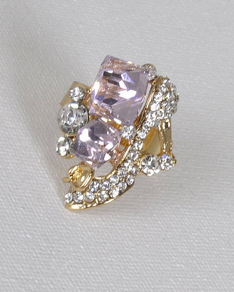 Crystal and Rhinestone Studded Adjustable Ring - The Jewelry Barn