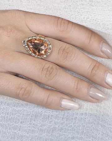 Tear Drop Shaped Crystal Ring with Rhinestone Embellishment - the-jewelry-barn