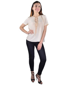 Solid Tie Up Pattern Neckline Short Sleeves top - The Jewelry Barn