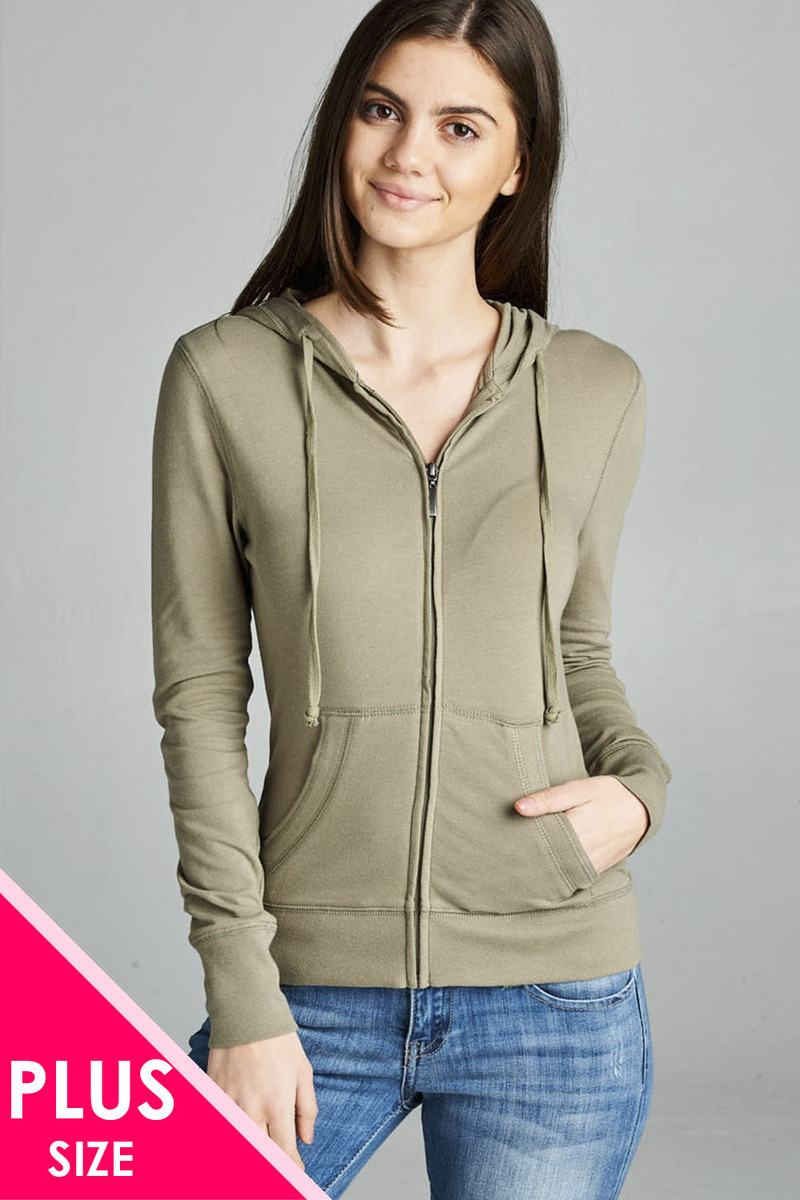 Ladies fashion plus size full zip-up closure hoodie w/long sleeves and lined drawstring hood - the-jewelry-barn