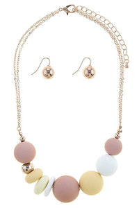 Sliding matte ball necklace set - the-jewelry-barn
