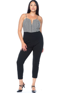 Ladies fashion plus size houndstooth black & white  jumpsuit - the-jewelry-barn