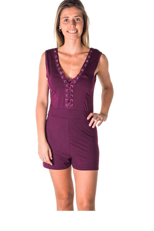 Ladies fashion casual lace up v neck knit romper shorts - the-jewelry-barn