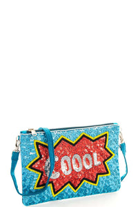 Modern spangle coool clutch with long strap - The Jewelry Barn