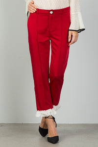 Ladies fashion red contrast ruffle hem ankle pants - the-jewelry-barn