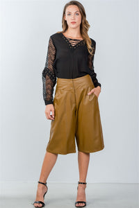 Ladies fashion camel wide leg faux leather culottes