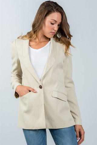 Ladies fashion one button closure blazer