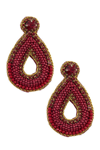Mix jewel beaded teardrop earring