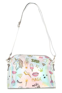 Magical print metallic dome crossbody bag - The Jewelry Barn
