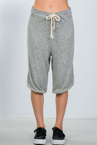 Ladies fashion grey drawstring waist loose capris pants - the-jewelry-barn