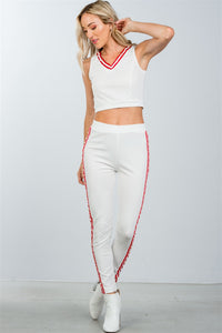Ladies faux pearl accent crop top with pants set - the-jewelry-barn