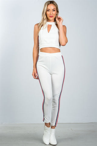Ladies fashion crop top and matching pants with side contrast stripe - the-jewelry-barn