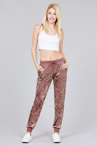 Waist contrast band w/drawstring ice velvet pants - the-jewelry-barn
