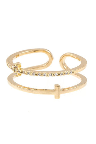 Cz stone cross accent cuff ring
