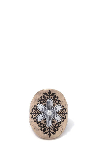 Rustic flower stretch ring
