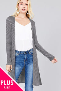 Ladies fashion plus size long sleeve open front side slit stripe tunic rib cardigan