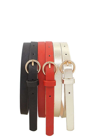 Glossy trio buckle belt set - the-jewelry-barn