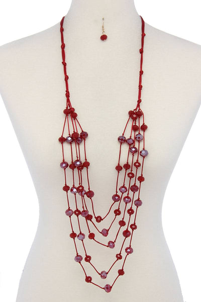 Beaded multi layered necklace