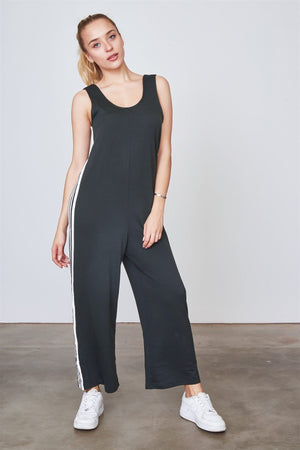 Ladies fashion side stripe contrast sleeveless jumpsuit - the-jewelry-barn