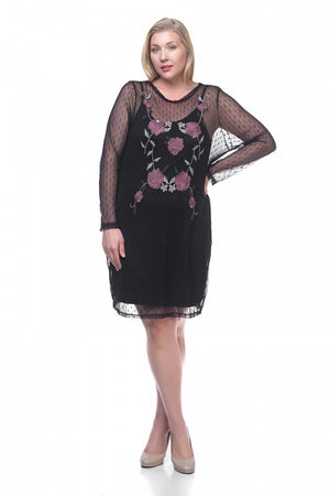 Ladies fashion plus size mesh midi dress - the-jewelry-barn