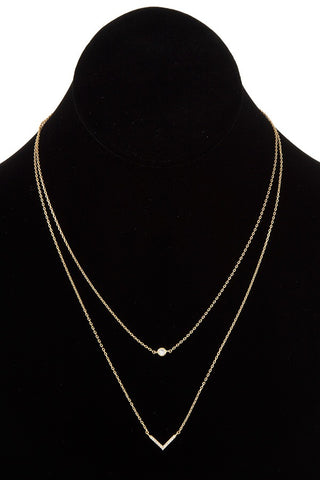 Double row chevron pendant necklace