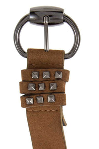 Studded accent faux suede belt - The Jewelry Barn