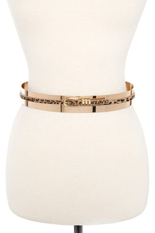 Metal animal pattern accent belt - the-jewelry-barn
