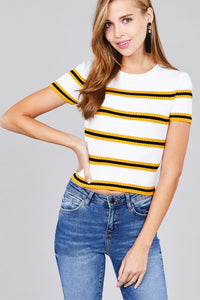 Short sleeve round neck multi stripe rib sweater top - The Jewelry Barn