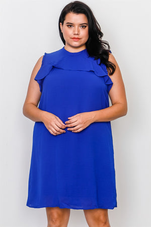Plus Size Ruffle Tie Back Dress - the-jewelry-barn