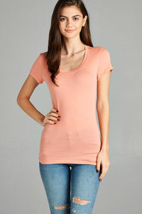 Basic Short Sleeve Scoop-neck Tee Apricot - The Jewelry Barn