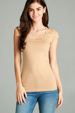 Basic Short Sleeve Scoop-neck Tee Cereal - The Jewelry Barn