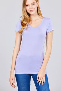 Basic Short Sleeve Scoop-neck Tee Electric Lilac - The Jewelry Barn