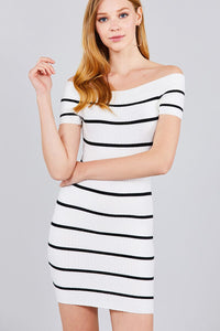 Short Sleeve Off The Shoulder Striped Mini Sweater Dress - The Jewelry Barn