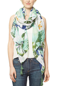 Botanical Green Print Scarf - The Jewelry Barn